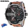 DIESEL DZ7332 MR DADDY 2.0 Gunmetal Brown Leather Chrono Mens Watch