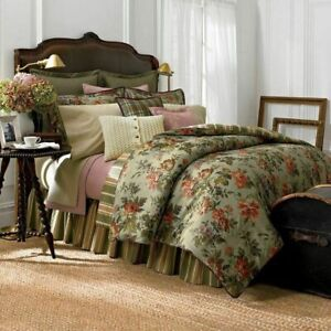 """CHAPS Brittany QUEEN Comforter 4pc Set Cottage GREEN Floral 92""""x96"""" *NWT ~READ"""
