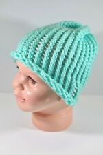 Light Turquoise Blue Hand Knit Hat Beanie Toddler Child 100% Acrylic