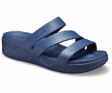 Crocs NEW Monterey Strappy wedge heel women's navy comfort sandals UK size 3-9