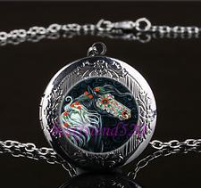 Sugar Skull Horse Cabochon Glass Gun Black Locket Pendant Necklace