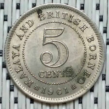 *GOOD Grade* 1961 - Malaya - 5 Cents Elizabeth II #CBRJ