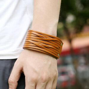 Unisex Wide Leather Punk Bracelet Cuff Wrap Wristband Surfer Bangle