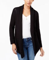 Style & Co Womens Petite Size PL Cardigan Sweater Black Shawl Collar Open Front