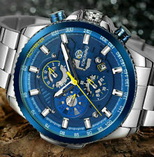 Automatik Multifunktion Herren Uhr Blau Silber Farben Edelstahl Armband Uhren