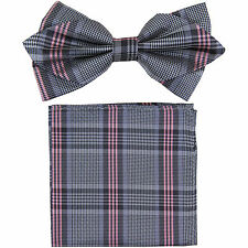 New in box formal Men's Diamond Shape Pre-tied Bow Tie & Hankie pink grey