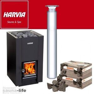 Holzofen, Saunaofen HARVIA LINEAR 22 + HARVIA Schornstein + 40 kg Saunateine