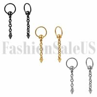 2pcs Men Women Stainless Steel Hoop Huggie Spike Long Chain Dangle Earrings Stud