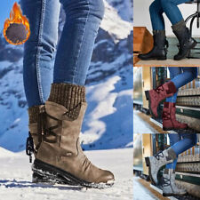 LADIES WOMENS WINTER LINED MID CALF FUR WARM GRIP SOLE SNOW BOOTS SHOES SIZE 4-7