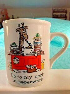 "PAPEL Office Quackery Humorous Coffee Mug  ""Up to my Neck in Paperwork""  Giraffe"