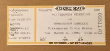 1991 PITTSBURGH PENGUINS VANCOUVER CANUCKS TICKET STUB MARIO LEMIEUX RECCI GOALS