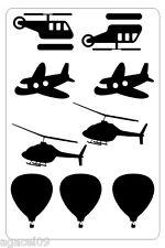 PLANES HELICOPTER BALLOON SET COOL WALL STICKERS KIDS CHILDREN BOY BEDROOM VINYL