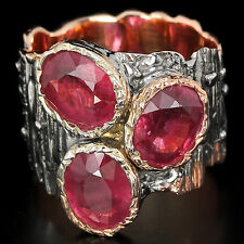 NATURAL 6.60 CT RUBY RING, SIZE 8.5 ~ WHITE & ROSE GOLD/925 STERLING SILVER