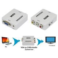 VGA to AV TV RCA Composite Converter Adapter S-video Box for PC Laptop TV 1080P