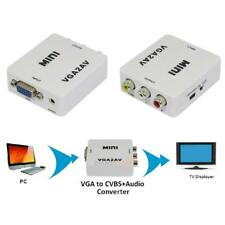 VGA to AV TV RCA Composite Converter Adapter S-video Box for PC Laptop TV 1080P