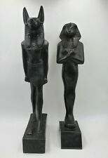 Two- Egyptian Gods, Stone Carved Statues, Black, Gods-Ra and Anubis