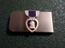 U.S MILITARY PURPLE HEART MONEY CLIP ARMY NAVY MARINE CORPS AIR FORCE U.S.A MADE
