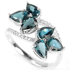 Sterling Silver 925 Genuine London Blue Topaz Crossover Ring Size O1/2 (US 7.5)