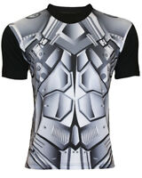 Men's Steel Chest Body Armour Panels Superhero Crew Neck Muscle T Shirt Top Tee