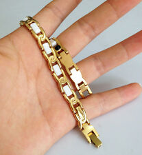 white CERAMIC with yellow gold SS link Lady Magnetic Stone Bracelet CR03 on sale