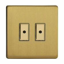 Varilight JDBE102S Screwless Brushed Brass 2 Gang Remote/Touch Master LED Dimmer