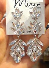 Statement Evening Cocktail Wedding Chandelier Earrings Crystal Petal Long Leaf