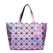 Women Large Hologram Bag Holographic Handbag Tote Satchel Shoulder Bags PURPLE