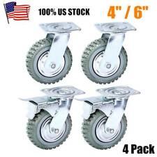 """4pcs Heavy Duty Industrial Rubber Caster Wheels 4""""/ 6"""" Swivel,Ball bearing"""