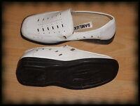 Schuhe Damenschuhe Bequemschuhe Slipper mit Gummizug weiß Größe 39 / 6 SAMLUX