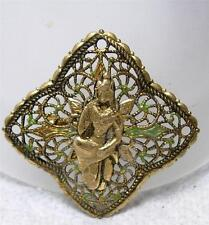 OLD Vintage Figural East Indian Woman Filigree Pin Brooch~Made in Germany