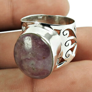 Oval Shape Star Ruby Gemstone Ring Size 8 925 Sterling Silver Jewelry R5
