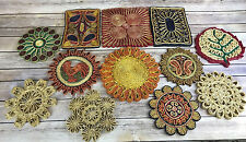 Woven Straw Trivet Hot Pad Wall Hanging Multi-Color Lot of 12