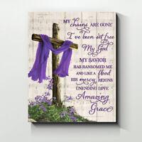 Cross Amazing grace Purple Canvas Wall Art Print Gift ideas Home Decor