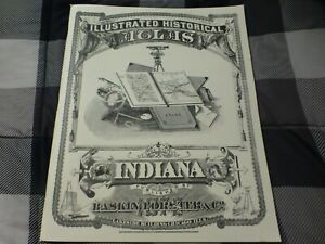 Illustrated Historical Atlas of Indiana - 1876 Reprint from 1968 - Good Conditio