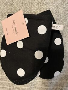 Kate Spade 2 Pack Mini Mitt Set Black & White Polka Dots Oven Mitts with grips