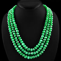 820.25 CTS EARTH MINED 3 LINE GREEN EMERALD ROUND FACETED BEADS NECKLACE (RS)