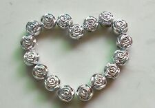 100 Pcs  silver Acrylic Rose Flower Spacer Loose Beads 7*8mm