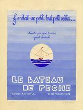 """""""LE BATEAU DE PECHE (Jean LUMIERE)"""" Maquette gouache originale S. BISSEY 1940"""