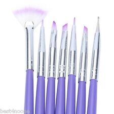7pcs Professional Purple Nail Design Brush Manicure for Painting Dot Tool