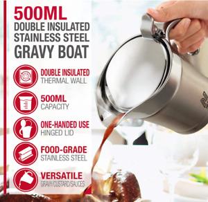 Stainless Cream Custard Gravy Boat 500ml Jug With Lid Grade A Refurbished