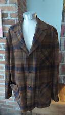 Vtg Pendleton Shirt 49er Jacket Sz L100% Wool Gold Browns Black Leather Buttons