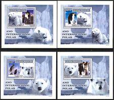 {230} Guinea Bissau 2007 White Bears & Birds Penguins 4 S/S Deluxe MNH**