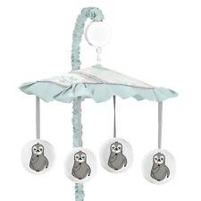 Unisex Sweet Jojo Blue Grey Jungle Sloth Leaf Baby Nursery Musical Crib Mobile