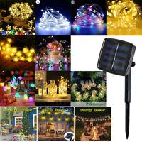 LED Solar Lichterkette Wasserfest 10/22m Kupferdraht Fairy Außen Garten Lampe