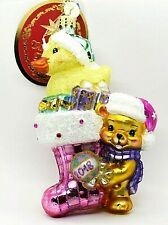 Radko NWT Baby Girl 'Down w/ Fur in Pink' Duck in Christmas Stocking Ornament