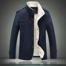 Mens Cotton Jacket Slim Fit Single breasted Fleece Lined Winter Casual Warm Coat