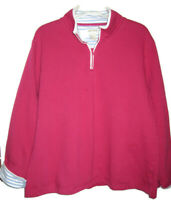 Orvis Bright Pink w/Blue White Trim3/4 Zip Up Long Sleeve Jacket XL 48 inch