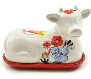"""THE PIONEER WOMAN """"FLEA MARKET"""" Covered Cow Butter Dish Dots Flowers Stoneware"""