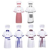 Kids Unisex Chef Uniform Hat Apron Coat Set Outfit 4pcs Cosplay Party Costume