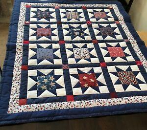 Patchwork Quilt handmade lap size Patriotic Star blue white red cotton fabrics